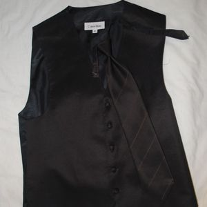 Calvin Klein Brown Striped Tux Vest and Necktie M